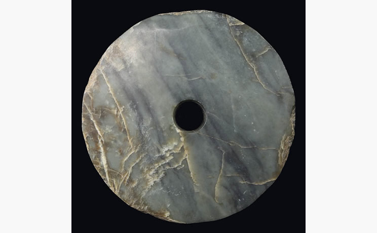 Bi Disk Grey and Brown Jade