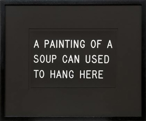 a painting of a soup can used to hang here